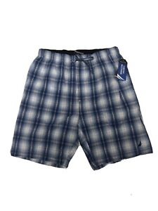 Nautica Sleep Shorts Blue Plaid Soft Lightweight Mens Medium New With Tags