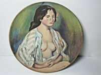 Vintage Wooden Wall Hanging Hand Painted Nude French Renoir'dan France Signed
