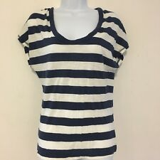 Old Navy Womens Top sz S Navy White Striped Short Sleeve Tee Shirt Nautical XT40