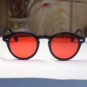 Vintage Johnny Depp sunglasses round mens womens black glasses red lens suniess