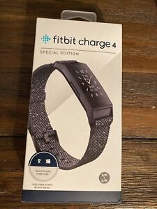 Fitbit Charge 4 Special Edition Fitness Tracker, Black/Granite Reflective Woven