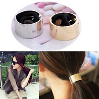 HAIR CUFF METAL PONY TAIL RING WRAP CIRCLE GOTHIC PUNK HOLDER ELASTIC DANCE MW