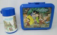 Vintage Disney Snow White & Seven Dwarfs Aladdin Plastic Blue Lunch Box Thermos