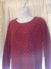 Apt. 9 Petite Large Dark Red Sweater With Silver Studs