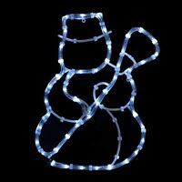 Snowman With Broom Rope Light Static White LED Christmas Xmas Outdoor Decoration