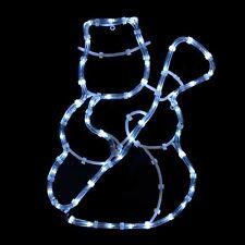 Bonhomme de neige avec balai corde lumière statique DEL Blanc Noël Noël Extérieur Décoration