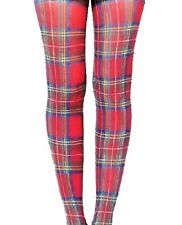 Red Scots Tartan Footless Tights Microfibre Opaque Print SCOTS Plaid O/S