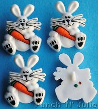 WHITE RABBIT with CARROT  Cute Easter Bunny Animal Pet Dress It Up Craft Buttons