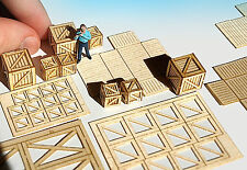 Miniature shipping boxes containers KIT O HO scale model train storage scenery