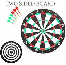 "Large 17"" Double Sided Dartboard Games childs dart board x 2 Sets of darts New"