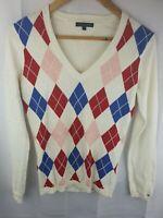 Tommy Hilfiger Argyle Diamond Jumper Red Blue Pink V Neck Womans Size M