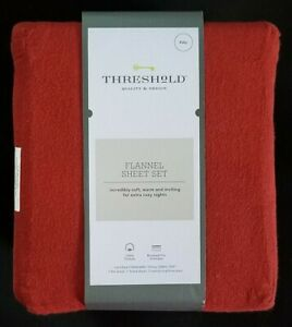 Threshold Quality Design Flannel Sheet Set FULL 4 piece Holiday Red 100% Cotton