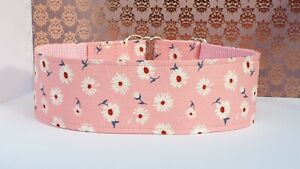 Daisies on pink . 40mm Martingale Collar.Greyhound