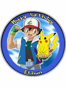 "Pokemon 7.5"" Round Personalised Birthday Cake Topper"
