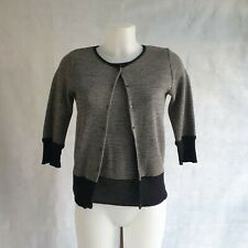 Joseph Cardigan Top Set Women's Size Medium Black White 100% Wool Knitted 112925