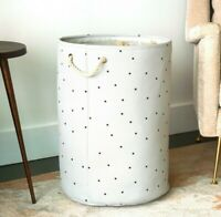 Canvas Collapsible Laundry Hamper, Polka Dots by Handcrafted 4 Home
