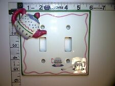 All Fired Up! Double Toggle Switch Wall Plate Cover Ceramic Tea Pot Service