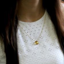 Natural Citrine Solid 18kt Yellow Gold Pendant Bezel Set Minimalist Necklace