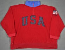 Polo Ralph Lauren Vtg USA Flag Fleece Jacket XL Superman Bear Sport Stadium