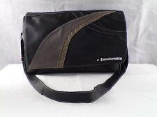 Lambretta Mens Black Strap Messenger Faux Leather Laptop Casual Shoulder Bag VGC