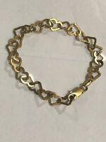 "ITALY STERLING SILVER .925 Interlocking HEARTS Bracelet 7"" Gold Tone"