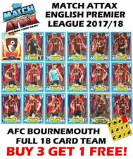 MATCH ATTAX 2017/18 AFC BOURNEMOUTH FULL TEAM SET 18 CARDS EPL BUY 3 GET 1 FREE
