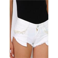 Ultra Short Women's Jeans Hotpants Shorts Frayed White #H1976