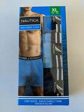 Nautica Men's Knit Boxer Classic Fit - 3 Pack XL X Large 40-42 Blue NEW Open Box