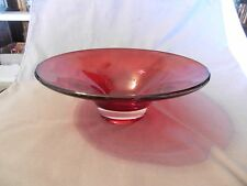 Red & Clear Glass Pedestal Fruit or Flower Bowl from Telaflora