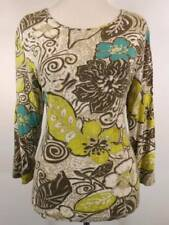 Beautiful Women's Size 1 Chico's Floral Design 3/4 Sleeve Knit Top GUC