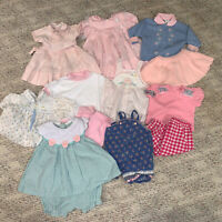 80s/90s Lot 9 Girl Vintage Baby Toddler Clothes Pink Dresses Rompers Outfits 12M