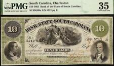 1861 $10 Dollar South Carolina Bank Note Large Currency Old Paper Money Pmg 35