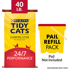 New listing Purina Tidy Cats Clumping Cat Litter, 24/7 Performance Multi Cat Litter, 40 lb