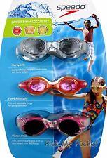 Speedo Swim Goggles Junior Girls UV Protect, Anti Fog, Latex Free - 3 pack