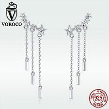 Voroco 925 Sterling Silver Dangle Earrings Meteor Stars Charm CZ Women Jewelry