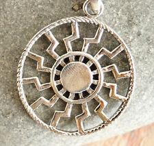 Groß Anhänger Silber Amulett Sonne Ø 2,5 cm Glanz Eckig zackig Strahl Sonnenrad