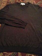 JOSEPH ABBOUD Men's V-Neck 100%  MERINO WOOL Xtra Large GRAY L/S Sweater