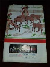 Vintage Nos Unused With Label Startex Cotton Western Cowboy Tablecloth 52X52