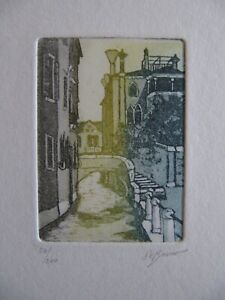 beautiful small aquatint  Venice scene signed De Bruno #54/200  Eidarte