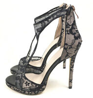 Womens Open Toe Lace High Heels Cutout Zip Stilettos Sandals Shoes Party Evening