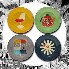 Set di 4 PIASTRE LATERALI casa moderna-Gazza atomica modernist Eames Retrò Vintage
