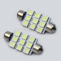 2 stk KFZ Lampe Licht Weiss 9 SMD LED Soffitte für Innen Beleuchtung 42mm Birne