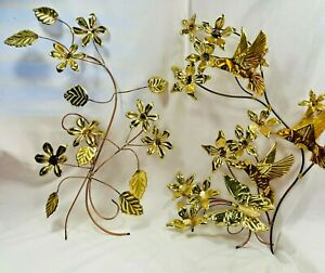 3 Set Wall Hanging Spray Leaves Humming Bird Floral Butterfly Brass Copper Weld