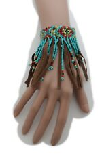 Women Bracelet Ethnic Fashion Brown Faux Suede Leather Turquoise Blue Long Beads
