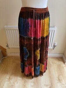 Tie Dye Effect Long Maxi Skirt Multi Colour Hippie Gypsy Boho Festival Size M