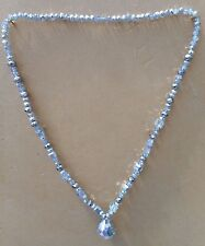 """Argento/Clear Crystal Glass 20mm Ciondolo 8mm SQUARE Perline n'lace Slip On 24"""" LG"""