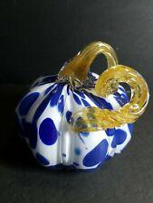 Artisan Glass Blue Pink Yellow and White Swirl
