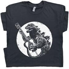 Cool Guitar T Shirt Vintage Godzilla Acoustic Electric Bass Drum Fender Men Band