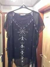 BNWOT EVANS BLACK BEADED CHIFFON SHORT SLEEVED PARTY TOP PLUS SIZE 30 - 32
