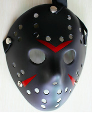 JASON VOORHEES MASK - BLACK Friday 13th HALLOWEEN Full Face Hard Film UK Adults